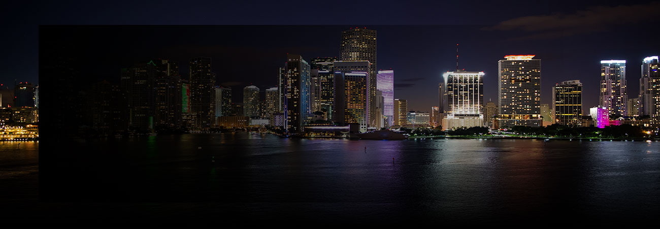 Miami skyscrapers at the night